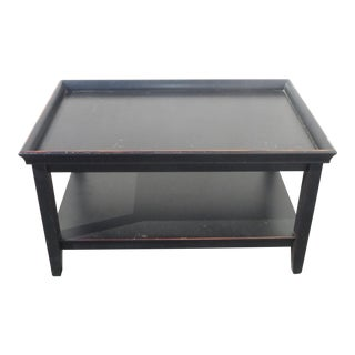 Distressed Black Asian Oriental Modern Tray Two Tier Coffee Table For Sale