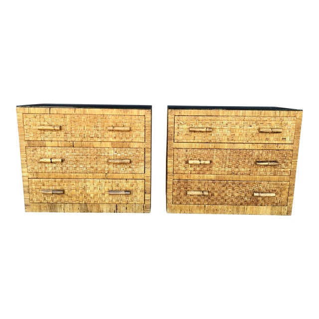 Vintage Woven Wrapped Rattan Chests- a Pair For Sale