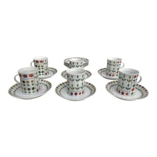 Emilio Pucci for Rosenthal Studio Demitasse Cups and Saucers - Set of 6 For Sale