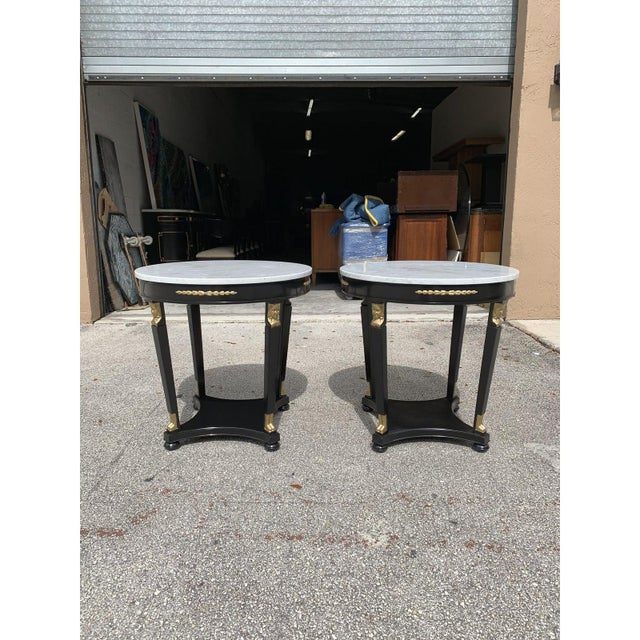 1910s Antique French Empire Marble Top Accent Tables or Gueridon Tables - a Pair For Sale - Image 4 of 13