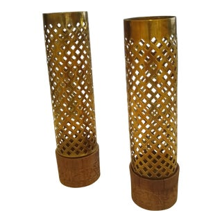 Vintage Perforated Brass/Wood Candle Holders - a Pair For Sale