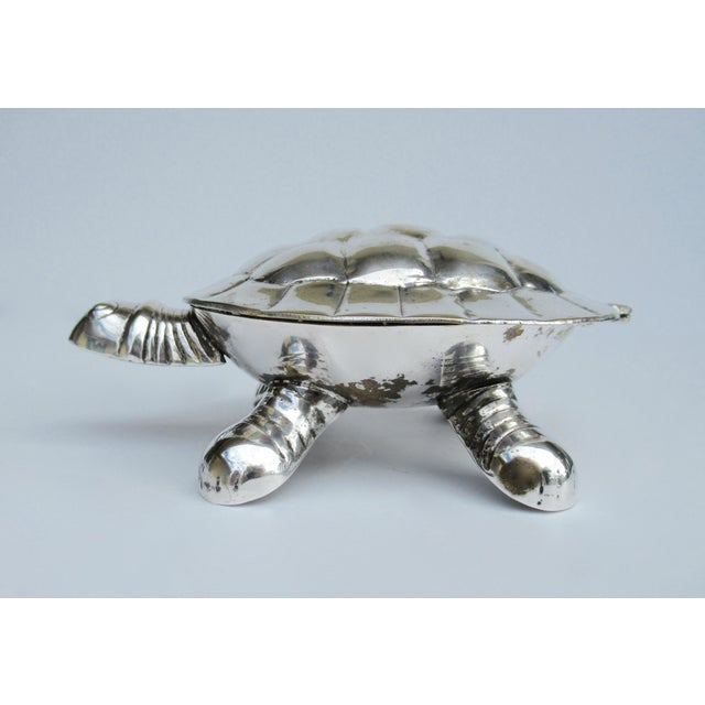 1970s Vintage Silver Plate Lidded Turtle Keepsake Box For Sale - Image 5 of 13