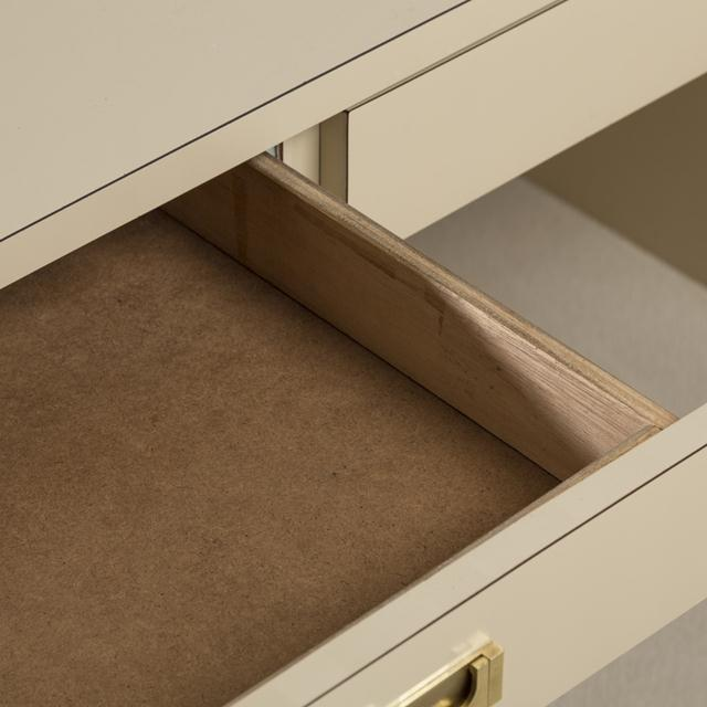 1970s Pace Attributed Pedestal Based Brass and Ivory Mica Wrapped Desk, 1970s For Sale - Image 5 of 8