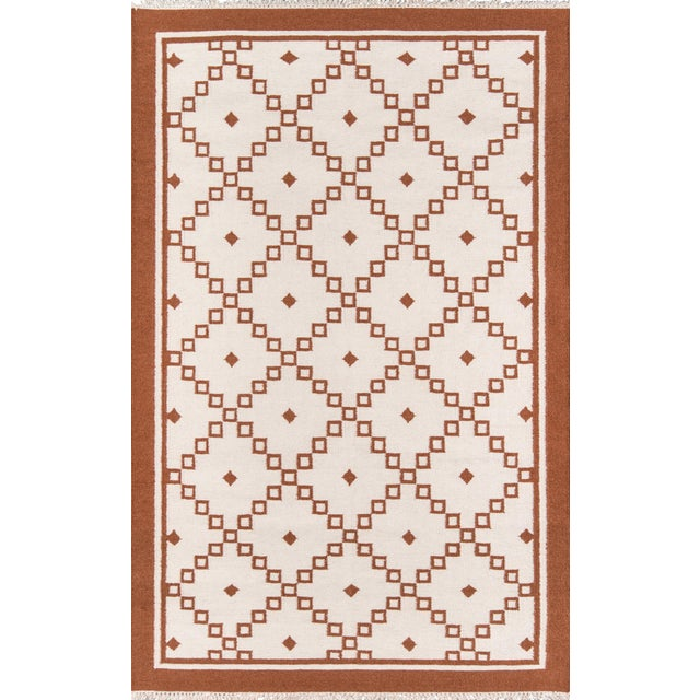 "Erin Gates Thompson Langley Rust Hand Woven Wool Area Rug 7'6"" X 9'6"" For Sale"