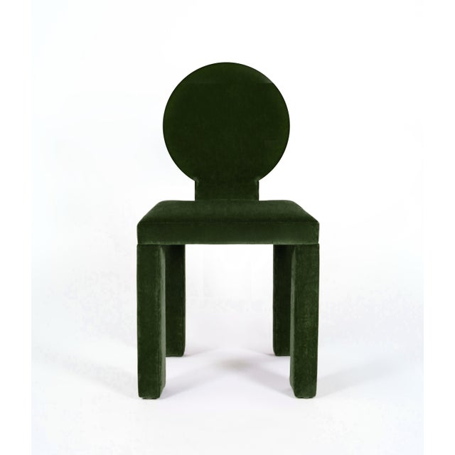 Contemporary Contemporary Dining Chairs in Moss Cotton Velvet - Set of 6 For Sale - Image 3 of 6