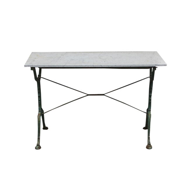 French Cast Iron Cafe Table With Marble Top For Sale
