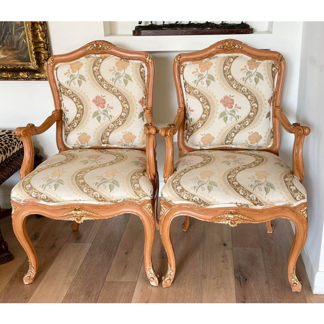 French Lewis Mittman French Louis XV Style Arm Chairs - a Pair For Sale - Image 3 of 8
