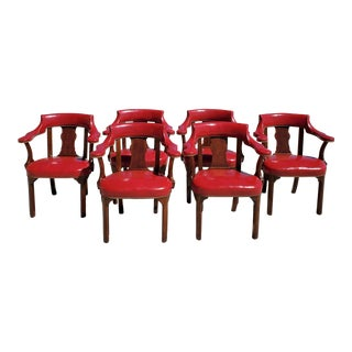 1950s Vintage Leather Library Chairs- Set of 6 For Sale