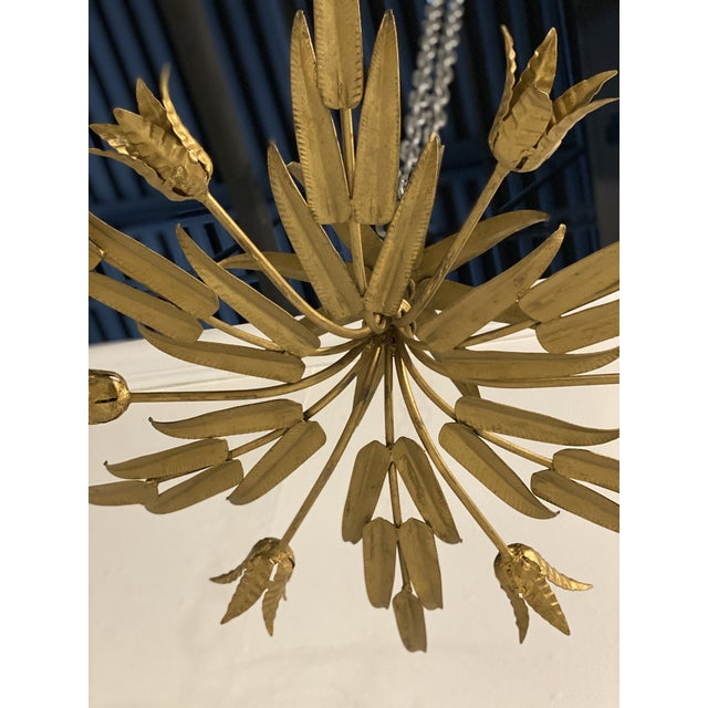 French 1930s French Sunburst Light Fixture For Sale - Image 3 of 10
