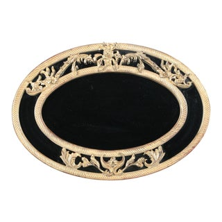 Hollywood Regency Rococo French Gold Black Wall Mirror