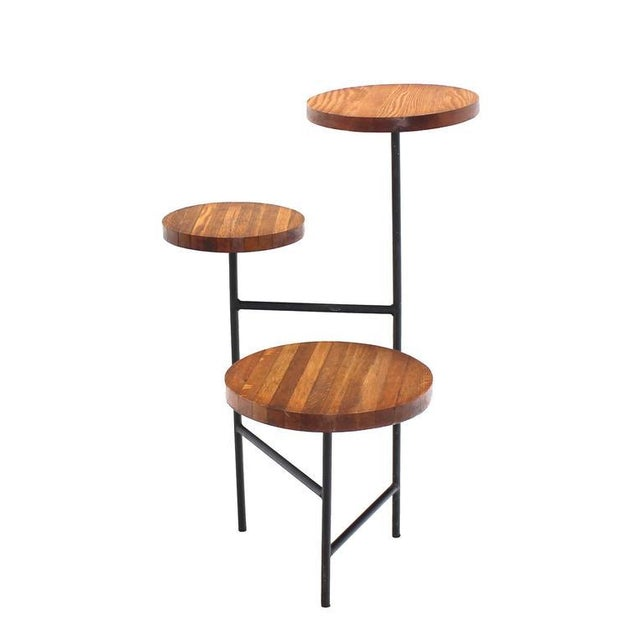 Mid-Century Modern Tri Leg Three-Tier Side Display Table Planter For Sale - Image 3 of 8