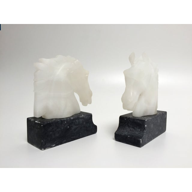 Hollywood Regency Vintage Alabaster Horse Head Bookends - A Pair For Sale - Image 3 of 10
