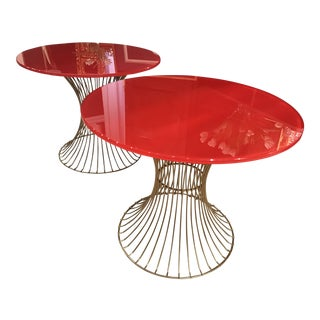 1970s Art Deco Red Glass and Brass Side Tables - a Pair