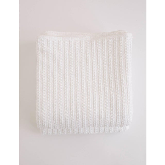 Cableknit Blanket in White, King For Sale - Image 10 of 10