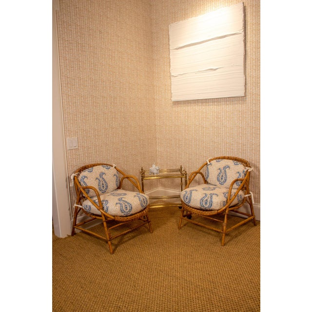 Boho Chic Vintage Rattan and Bamboo Armchairs- a Pair For Sale - Image 3 of 7