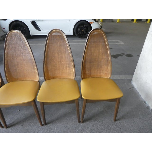 Vintage Mid Century Modern Stakmore Cathedral Back Folding Chairs Set Of 6