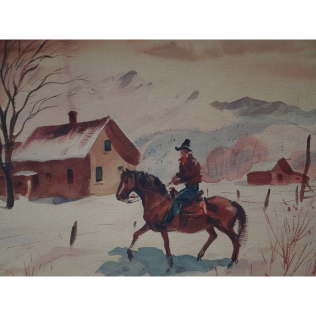 Charles Payzant Double-Sided Western Watercolor For Sale - Image 7 of 8