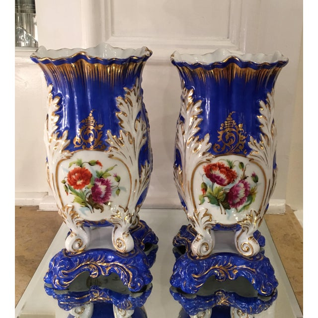 Antique Old Paris Porcelain Rococo Vases - A Pair - Image 3 of 5
