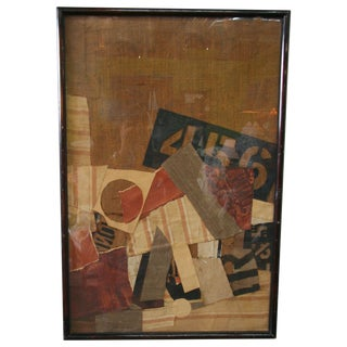 Early 20th Century Burlap Collage Art For Sale