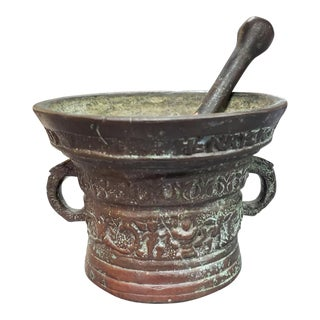 17th Century Dutch Bronze Mortar and Pestle Made by Henryck Ter Horst For Sale