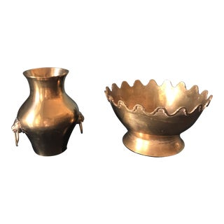Brass Urn and Planter - Pair