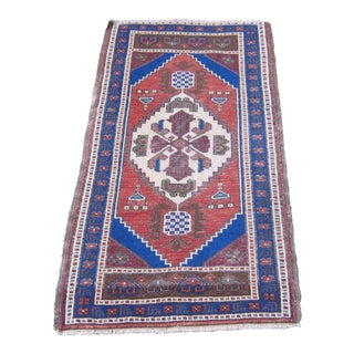 "Turkish Blue Wool Pile Small Vintage Rug - 1'11"" x 3'6"""