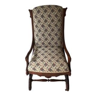 Vintage Floral Tapestry Slipper Glider Chair