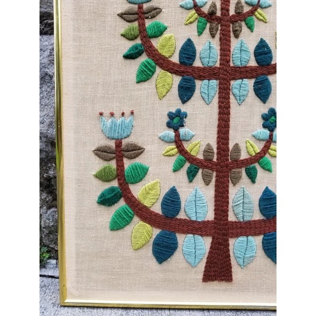 Mid-Century Modern Crewel Embroidered Wall Hanging For Sale - Image 5 of 11