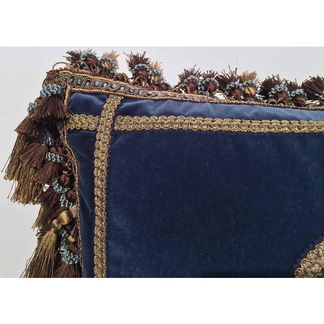 French Custom Blue Velvet Pillow Handmade With 18th Century Aubusson Tapestry, Trims and Tassels For Sale In Dallas - Image 6 of 10