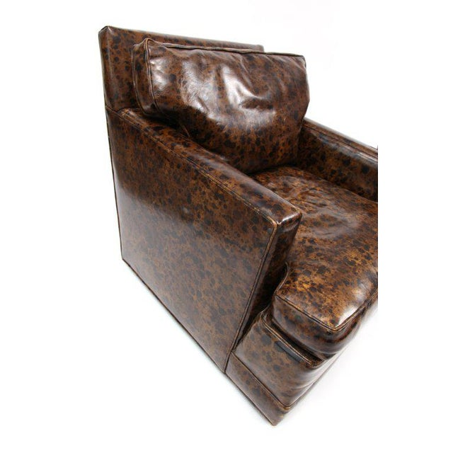 Pair of Oil Drop Leather and Down Club Chairs For Sale - Image 4 of 6