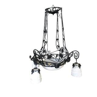 Black Iron Tole 4 Light Chandelier W/ Alabaster Shades For Sale