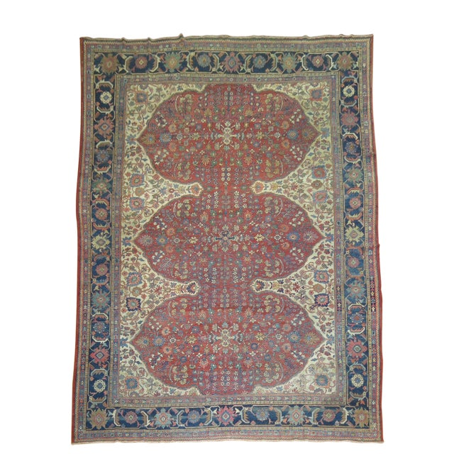 Shabby Chic Persian Sultanabad Rug 9'3'' X 12'6'' For Sale