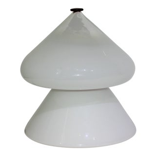 Mid-Century Modern Venini Table Lamp White, Clear, Red Cap For Sale