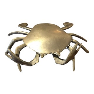 Vintage Nautical Solid Brass Articulated Crab Ashtray For Sale