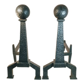 Vintage Bradley Hubbard Arts Crafts Cast Iron Fireplace Hammered Ball Andirons - a Pair For Sale