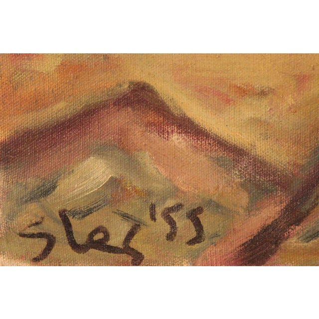 Early Steven Sles oil on linen painting circa 1955. Sles was a mouth painter who studied under Hans Hoffman. This work...