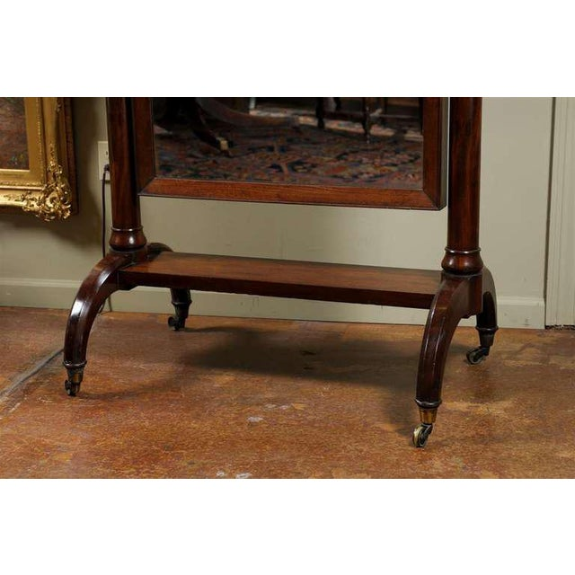 Scottish 1820s Mahogany Free Standing Tilting Cheval Mirror with Crescent Legs For Sale In Atlanta - Image 6 of 11