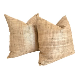 Raw Silk Pillow Covers- a Pair For Sale