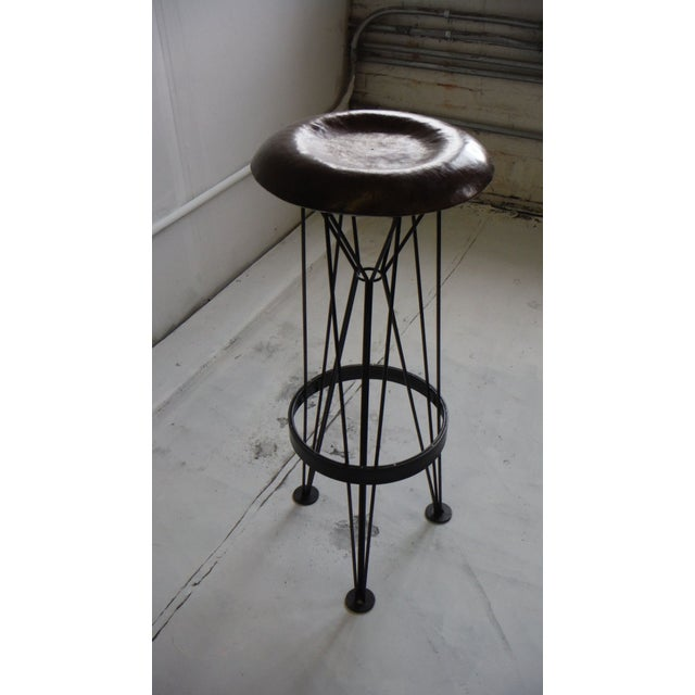 2010s Hammered Steel Bar Stool For Sale - Image 5 of 6