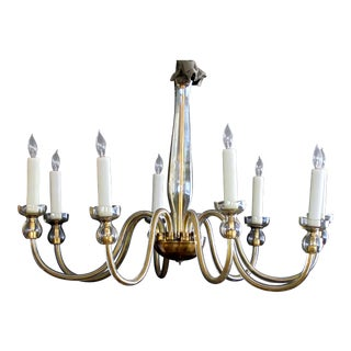 An Elegant Murano Champagne-Colored Glass 8-Light Chandelier For Sale
