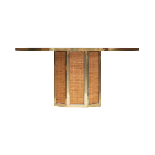 Chique octagonal dining table by Romeo Rega. 1970s, Italy. Brass. Smoked glass. wicker This makes an extraordinary set...