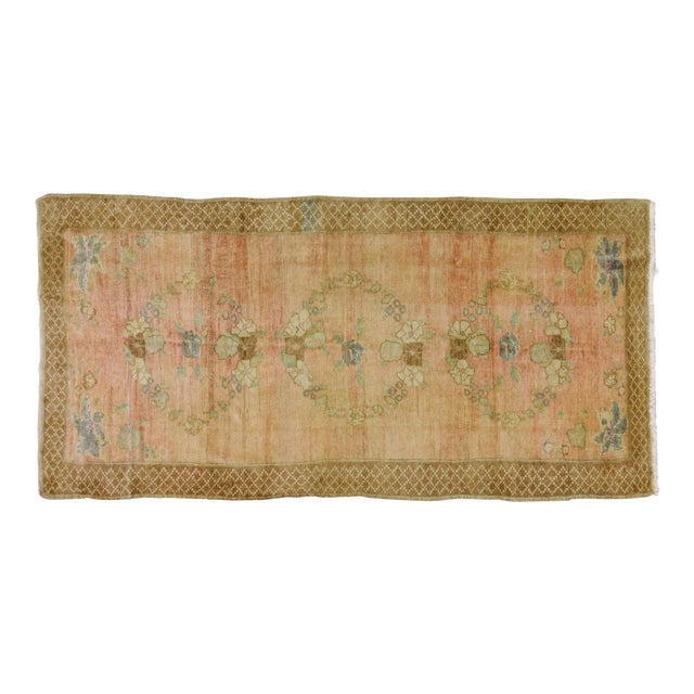 Vintage Turkish Oushak Hand Knotted Organic Wool Fine Weave Rug,5'x10' For Sale