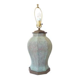 Vintage Traditional Verdegris Copper Lamp For Sale
