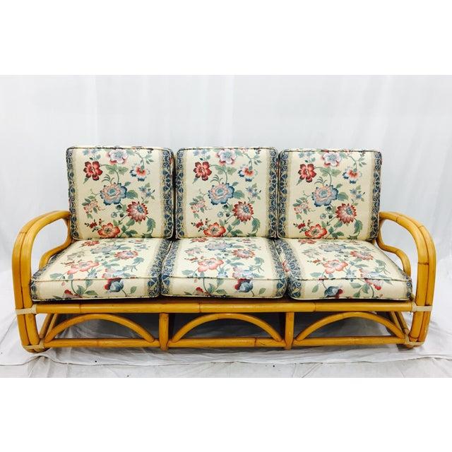 Boho Chic Vintage Mid-Century Rattan Sofa For Sale - Image 3 of 8