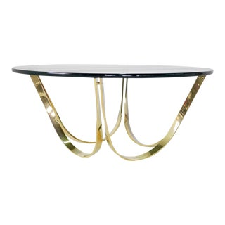 1970s Roger Sprunger for Dunbar Brass and Glass Coffee Table For Sale