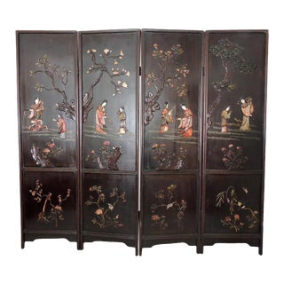 Antique Chinese Four Panel Room Divider or Screen of the Four Seasons With Calligraphy and Semi Precious Stone For Sale