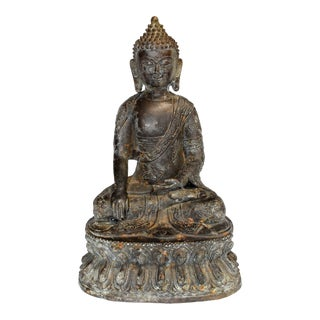 Early 20th Century Antique Bronze Buddha Statue For Sale