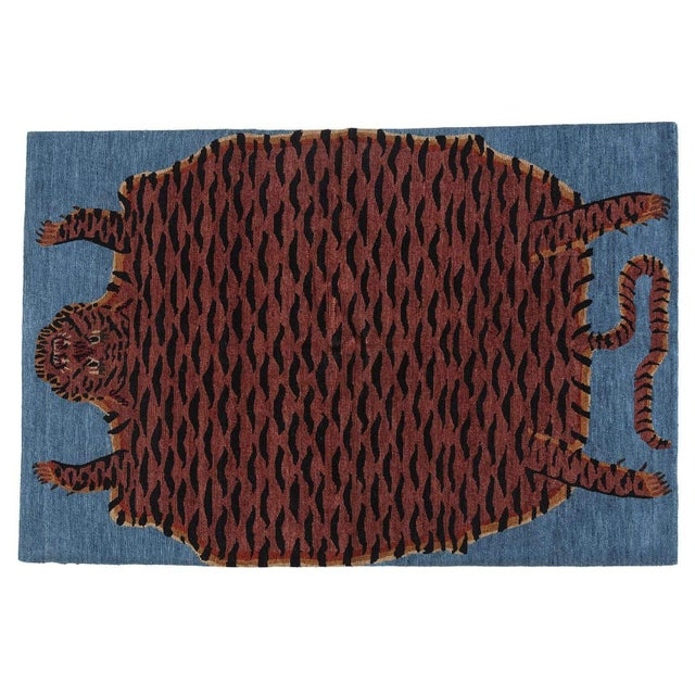 Based on our fat cat rug from decades ago, this design has chestnut, black, and tan wool with linen accents against a...