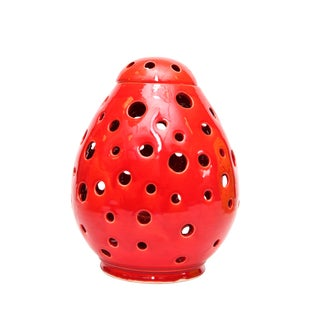Moroccan Hand Painted Red Egg Lamp Shell For Sale