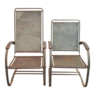 Vintage Steel Metal Mesh His and Hers Patio Bouncer Lounge Chairs - a Pair